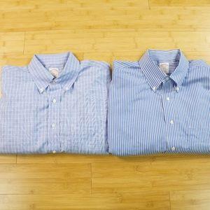 2 Brooks Brothers Dress Shirts Blue 16.5-6/7